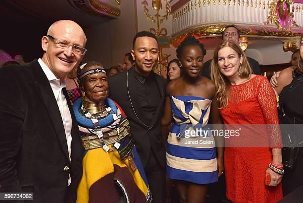 President of Belvedere Vodka Charles Gibb artist Esther Mahlangu recording artist John Legend actress Lupita Nyong'o and CEO of Deborah Dugan attend...