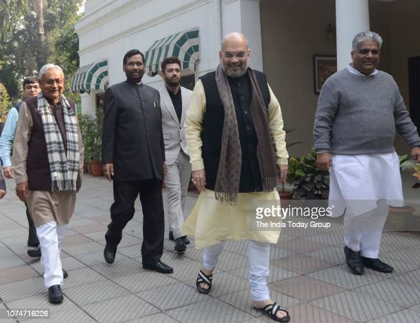 President of BJP, Amit Shah, Chief Minister of Bihar, Nitish Kumar, Member of the Lok Sabha, Ram Vilas Paswan and Member of Parliament, Chirag Paswan...