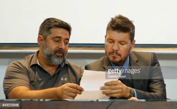 President of Boca Juniors Daniel Angelici and Vicepresident of San Lorenzo Marcelo Tinelli talk during the broadcast proposals bid for Argentinian...