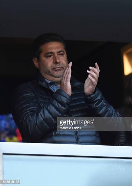 President of Boca Juniors Daniel Angelici gestures during a match between Boca Juniors and Godoy Cruz as part of Superliga 2017/18 at Alberto J...