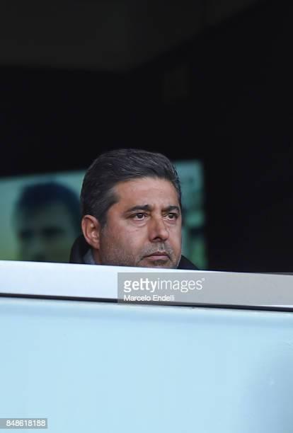 President of Boca Juniors Daniel Angelici looks on during a match between Boca Juniors and Godoy Cruz as part of Superliga 2017/18 at Alberto J...