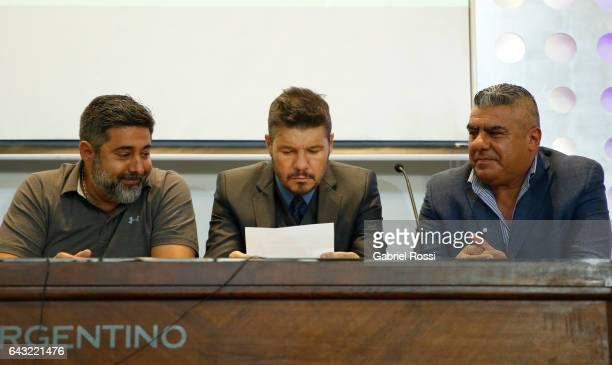 President of Boca Juniors Daniel Angelici Vicepresident of San Lorenzo Marcelo Tinelli and Second Vicepresident of AFA Claudio Tapia look on during...