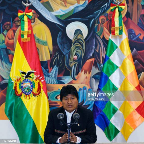 President of Bolivia and Presidential candidate for MAS Evo Morales speaks during a press conference on October 23 2019 in La Paz Bolivia President...