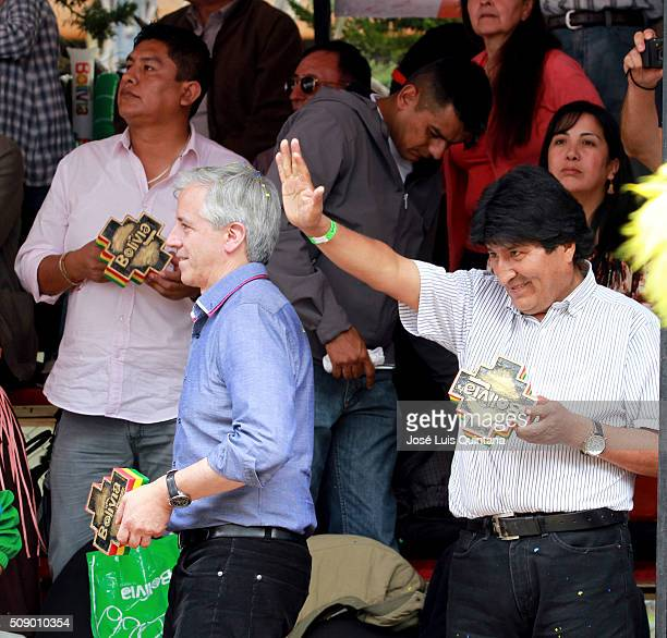 President of Bolivia Evo Morales and Vice President Alvaro Garcia Linera greet performers during the Oruro Carnival on February 06 2016 in Oruro...