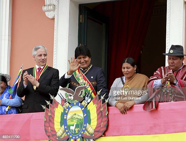 President of Bolivia Evo Morales and Vicepresident Alvaro Garcia Linera greet people during the celebration of the 11th anniversary of Evo Morales'...