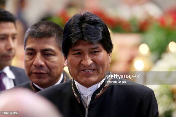President of Bolivia Evo Morales attends the Consistory for the creation of new Cardinals lead by Pope Francis at the St Peter's Basilica on June 28...