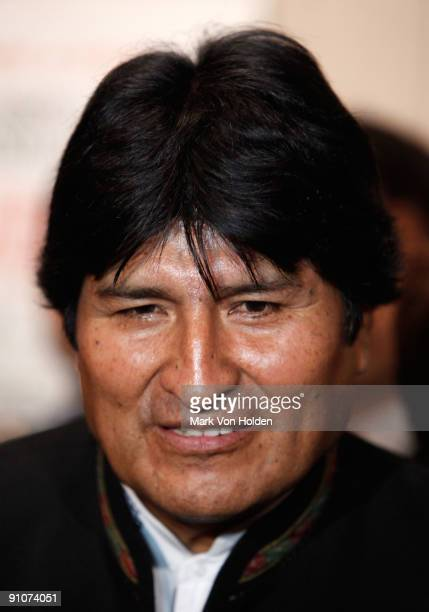 President of Bolivia Evo Morales attends the South of the Border premiere at the Walter Reade Theater on September 23 2009 in New York City