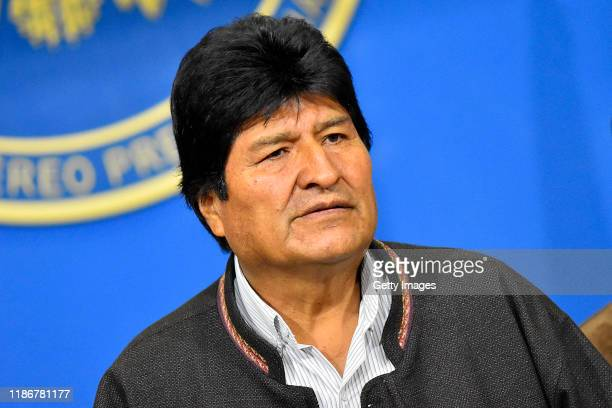 President of Bolivia Evo Morales Ayma talks during a morning press conference when he announced he was going to call for fresh elections after OAS...