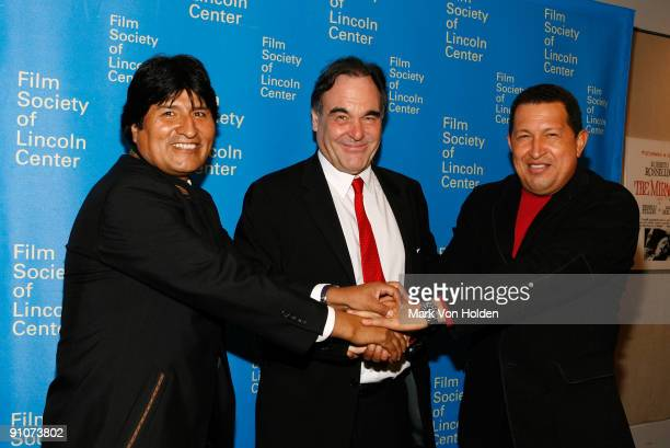 President of Bolivia Evo Morales Director Oliver Stone and President of Venezuela Hugo Chavez attend the South of the Border premiere at the Walter...