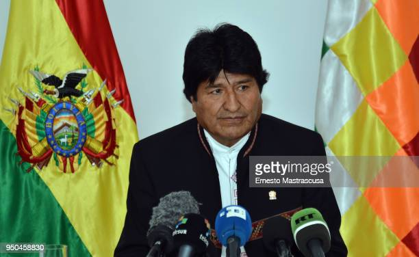 President of Bolivia Evo Morales looks on during a press conference as part of Morales' official visit to Cuba on April 23 2018 in Havana Cuba