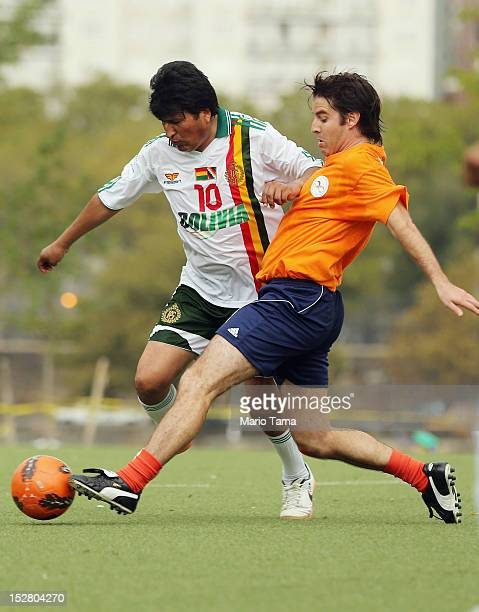 President of Bolivia Evo Morales plays in a friendly soccer match against UN officials during the 67th session of the United Nations General Assembly...