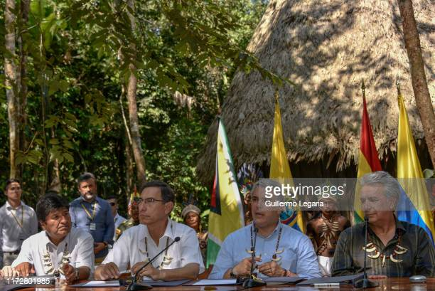 President of Bolivia Evo Morales President of Peru Martin Vizcarra President of Colombia Ivan Duque and President of Ecuador Lenin Moreno attend a...