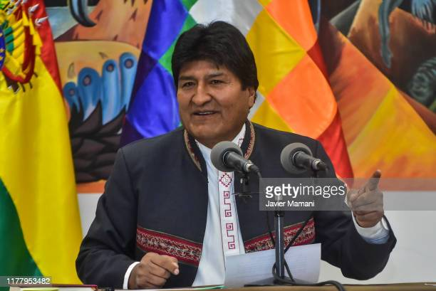President of Bolivia Evo Morales speaks during a press conference on October 24 2019 in La Paz Bolivia President Evo Morales announced his victory in...