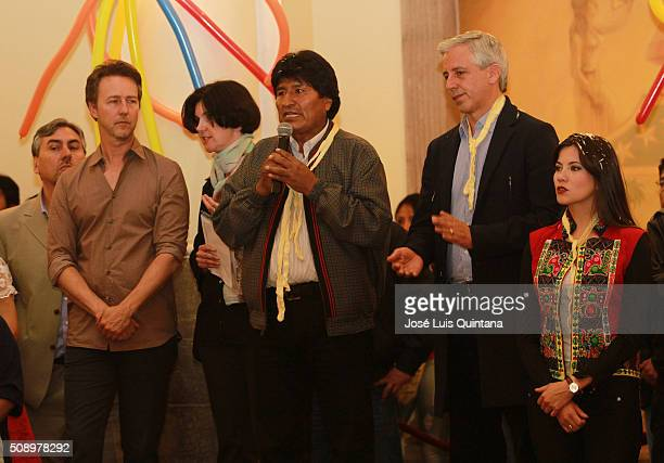 President of Bolivia Evo Morales speaks during Edward Norton visit to Bolivia as part of Oruro Carnival at Palacio de Gobierno on February 05 2016 in...
