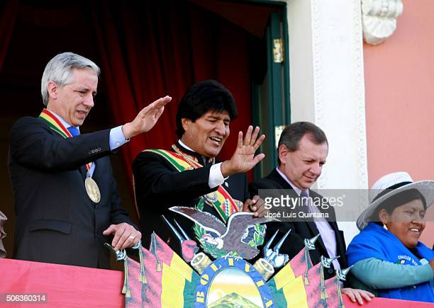 President of Bolivia Evo Morales Vicepresident Alvaro Garcia Linera and Jose Alberto Gonzales greet people during the celebration of the 10th...