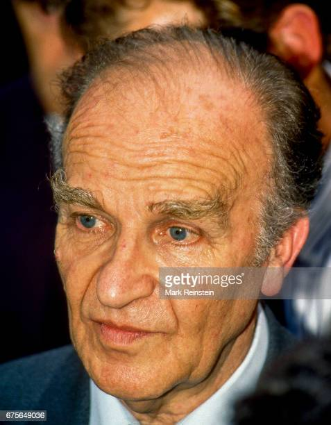 President of Bosnia Alija Izetbegovic speaks with journalists in the west driveway of the White House Washington DC September 8 1993 He had just met...