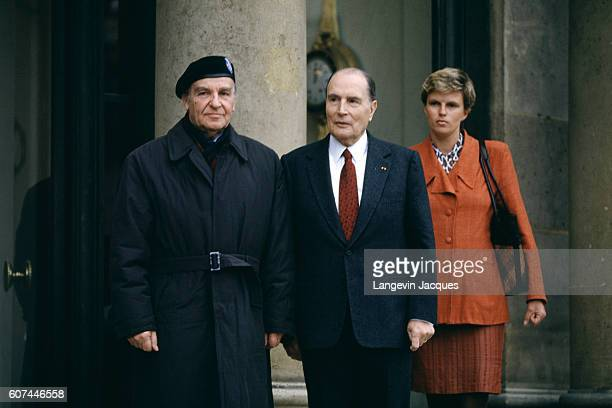 President of Bosnia and Herzegovina Alija Izetbegovic with wife Halida Repovac are welcomed at the Elysee Palace by French President François...