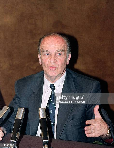 President of Bosnia and Hetzegovina Alija Izetbegovic speaks to press 11 August 1992 in Sarajevo asking for a strike by international forces against...