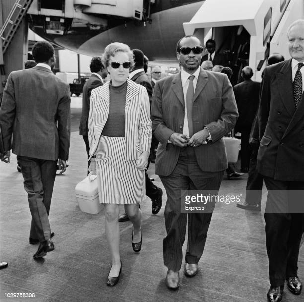 President of Botswana Seretse Khama and his wife Ruth Williams Khama arrive at Heathrow Airport in London for a visit to the United Kingdom on 13th...