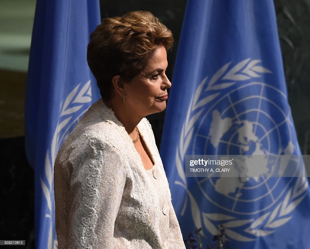 President of Brazil, Dilma Rousseff attends the high level signature ceremony for the Paris Agreement at the United Nations General Assembly Hall April 22, 2016 in New York. / AFP / TIMOTHY