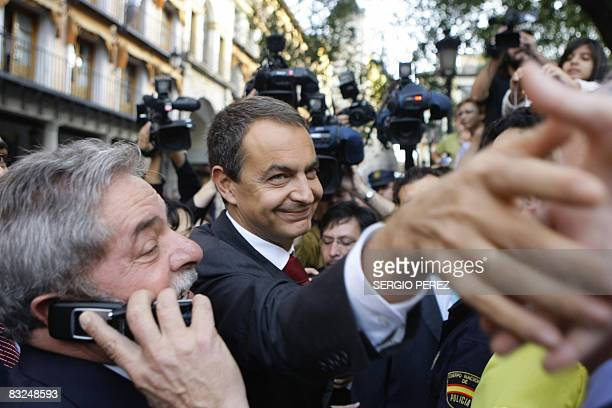 President of Brazil Inazio Lula Da Silva and Spanish Prime Minister Jose Luis Rodriguez Zapatero greet the crowds prior the Don Quijote de La Mancha...