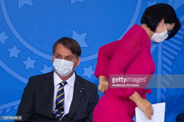 President of Brazil Jair Bolsonaro and his wife Michelle Bolsonaro attend the launch the Rural Women Campaign amidstthe coronavirus pandemic at the...