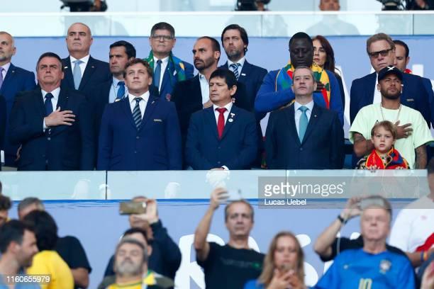 President of Brazil Jair Bolsonaro President of CONMEBOL Alejandro Dominguez Agustín Lozano president of the FPF Rogério Caboclo president of the CBF...