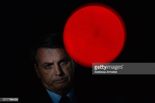 President of Brazil Jair Bolsonaro reacts during a conference with the press and supporters at Alvorada Palace on June 05 2020 in Brasilia Brazil...