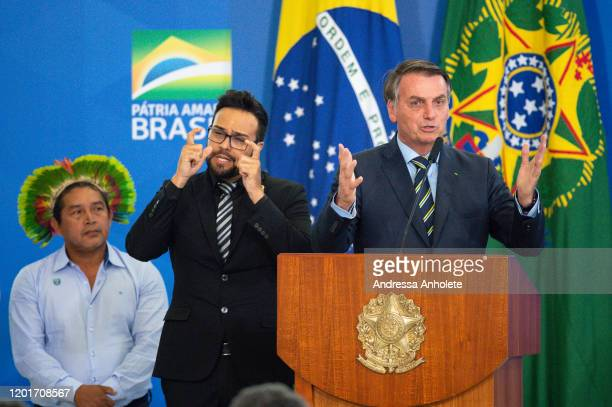 President of Brazil Jair Bolsonaro speaks during the Transmission Ceremony of the Minister of the Chief of Staff and Minister Citizenship at the...