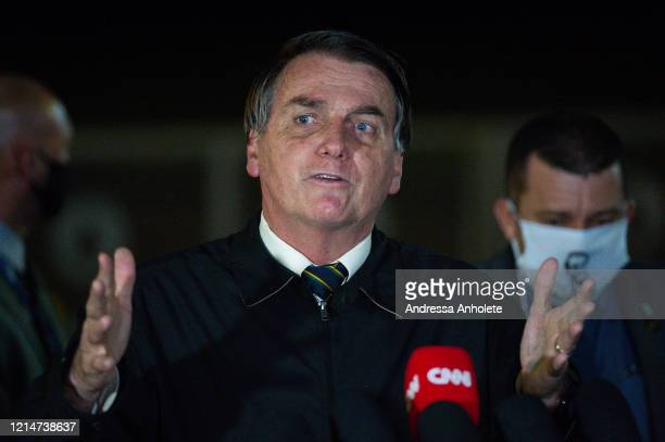 President of Brazil Jair Bolsonaro speaks with press about the controversial cabinet meeting video recently disclosed on May at Alvorada Palace on...
