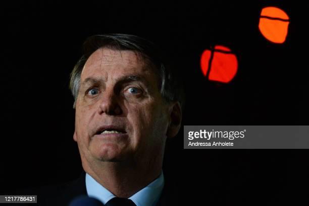 President of Brazil Jair Bolsonaro speaks with press at Alvorada Palace on June 05 2020 in Brasilia Brazil Brazil has over 614000 confirmed positive...