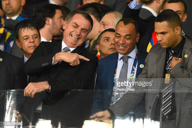 President of Brazil Jair Bolsonaro talks with Cafu during the Copa America Brazil 2019 Semi Final match between Brazil and Argentina at Mineirao...