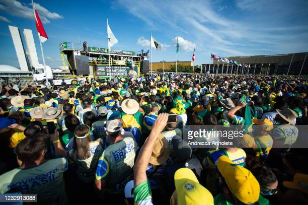 President of Brazil Jair Bolsonarospeaks to his supporters during a protest organized to show support to his government at Esplanada dos Ministérios...