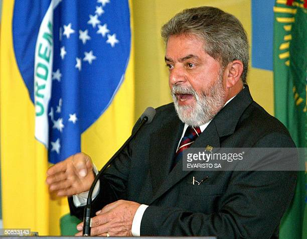 President of Brazil Luiz Inacio Lula da Silva speaks during a meeting of the Economical and Social Development Council at the Planalto Palace in...
