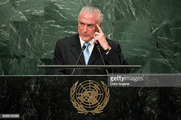 President of Brazil Michel Temer addresses the United Nations General Assembly at UN headquarters September 20 2016 in New York City According to the...
