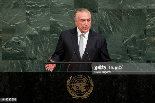 President of Brazil Michel Temer addresses the United Nations General Assembly at UN headquarters September 19 2017 in New York City Among the issues...
