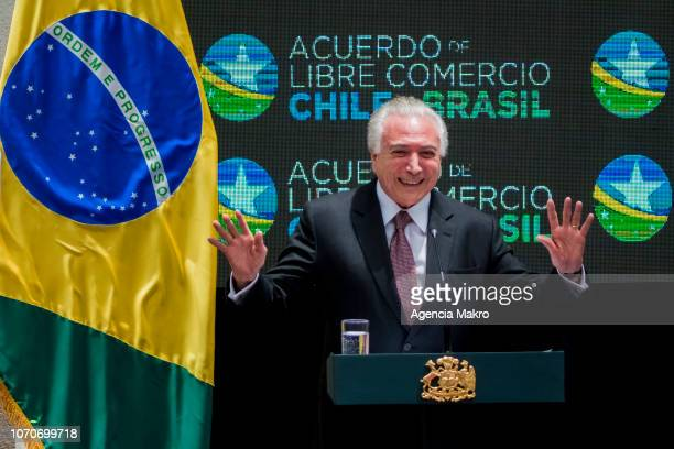 President of Brazil Michel Temer gives a speech after the signing of the Free Trade Agreement between Brazil and Chile at the Palacio de la Moneda on...