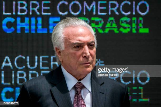 President of Brazil Michel Temer looks on during the signing ceremony of a Free Trade Agreement between Brazil and Chile at the Palacio de La Moneda...