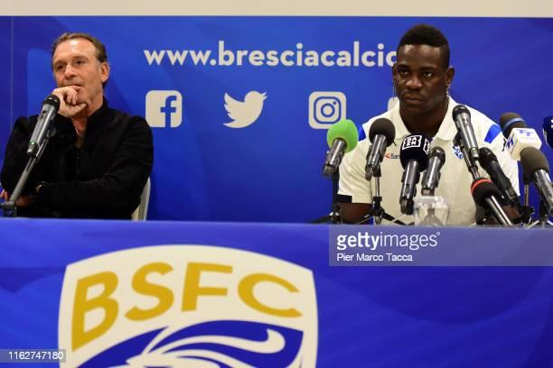 President of Brescia Calcio Massimo Cellino and Mario Balotelli attend the Brescia Calcio Unveils New Signing Mario Balotelli on August 19 2019 in...