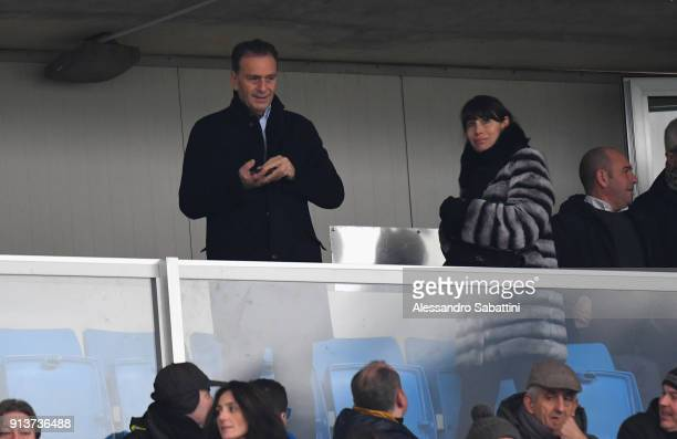 President of Brescia Calcio Massimo Cellino attend the Serie B match between Brescia Calcio and Parma Calcio at Stadio Mario Rigamonti on February 3...