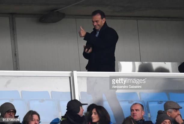 President of Brescia Calcio Massimo Cellino attend the Serie B match between Brescia Calcio and Parma Calcio at Stadio Mario Rigamonti on February 3...