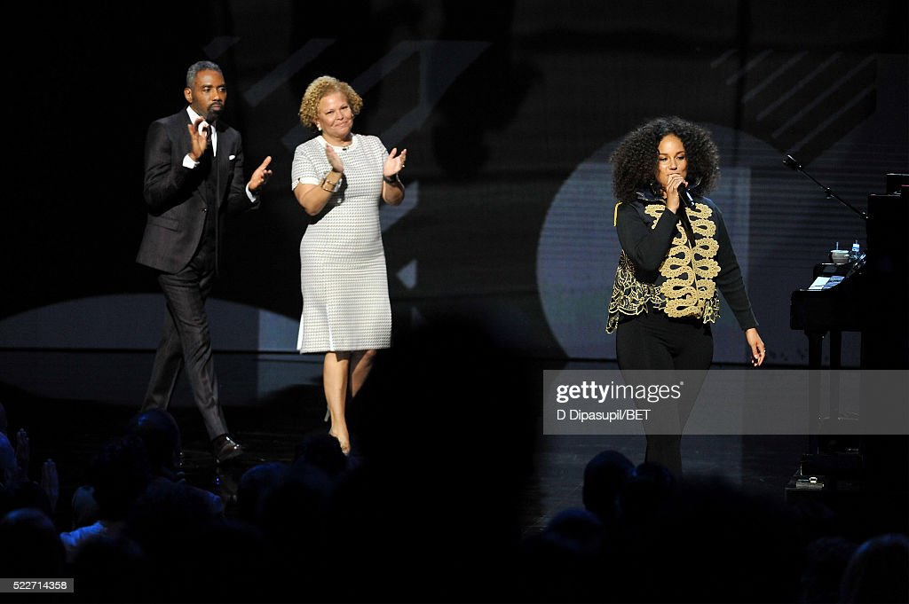 President of Broadcast Media Sales for BET Networks Louis Carr, Chairman and CEO of BET Networks Debra L. Lee, and Alicia Keys speak onstage during BET Networks 2016 Upfront at Rose Hall at Jazz at Lincoln Center on April 20, 2016 in New York City.