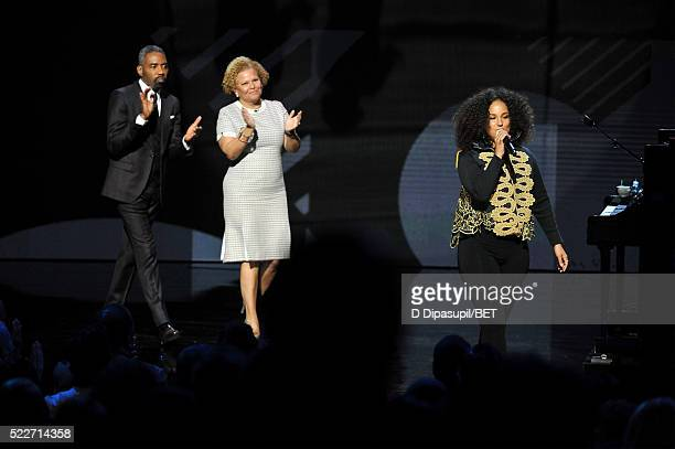 President of Broadcast Media Sales for BET Networks Louis Carr Chairman and CEO of BET Networks Debra L Lee and Alicia Keys speak onstage during BET...