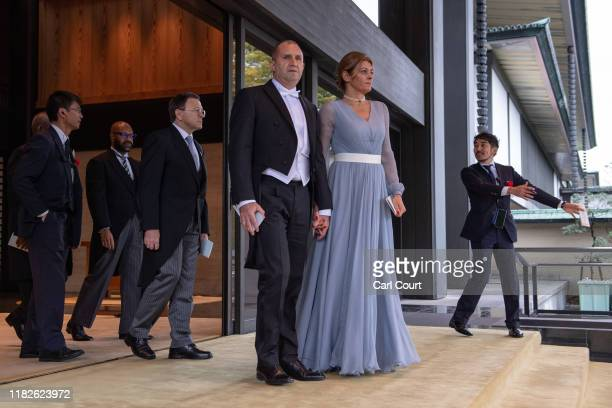 President of Bulgaria, Rumen Radev, and his wife Desislava Radeva, leave after attending the Enthronement Ceremony Of Emperor Naruhito of Japan at...