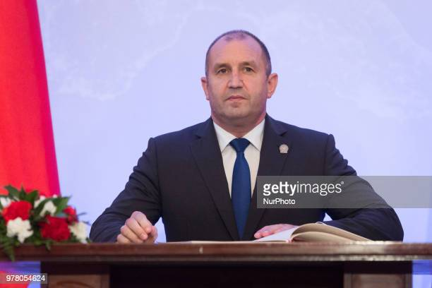 President of Bulgaria Rumen Radev attend the Poland's Independence 100th anniversary celebrations at the Belvedere Palace in Warsaw, Poland on 8 June...