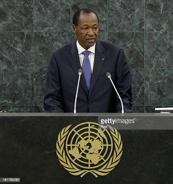 President of Burkina Faso Blaise Compaore speaks during the 68th Session of the United Nations General Assembly on September 25, 2013 in New York...