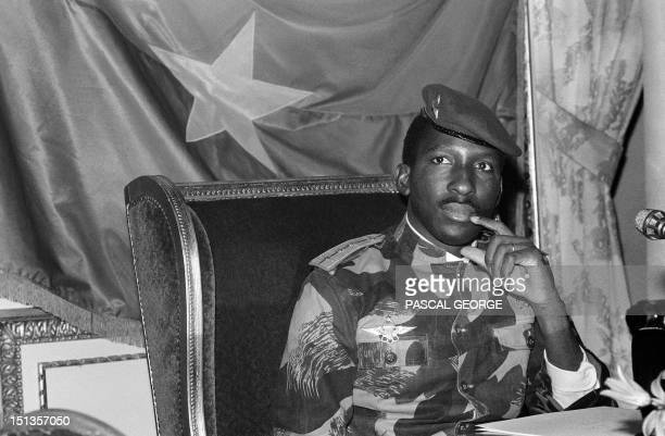 President of Burkina Faso Captain Thomas Sankara gives a press conference 07 February 1986 in Paris Sankara was killed in October 1987 in a coup...