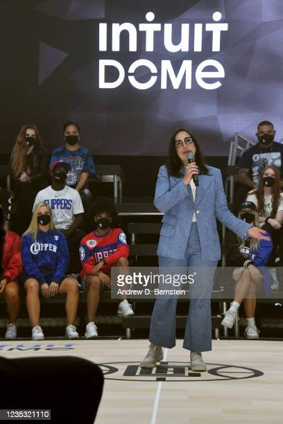 President of Business Operations Gillian Zucker of the LA Clippers speaks during the ground breaking on Intuit Dome on September 17, 2021 in...