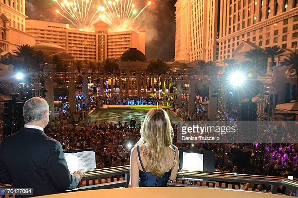 President of Caesars Palace Gary Selesner and the Colosseum at Caesars Palace headliner Celine Dion during the closing night party for IPW 2013 at...