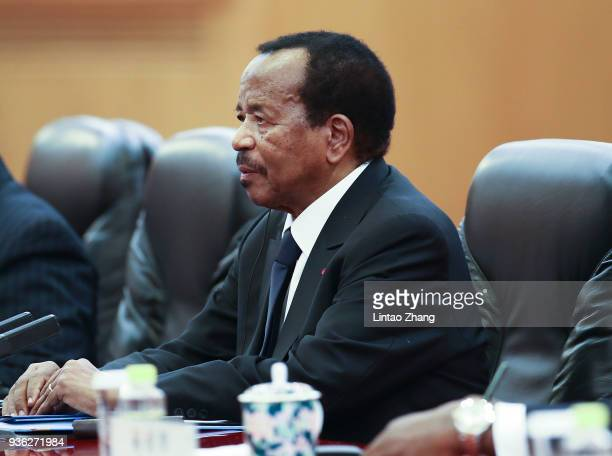 President of Cameroon Paul Biya meets with Chinese President Xi Jinping at The Great Hall Of The People on March 22, 2018 in Beijing, China. At the...